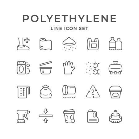Set line icons of polyethylene or polythene isolated on white. Vector illustration Stock Illustratie