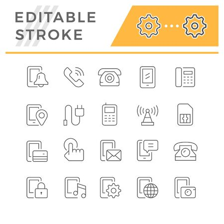 Set editable stroke line icons of phone isolated on white. Vector illustration