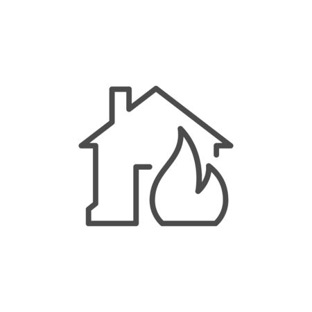 House in fire line outline icon isolated on white. Burning building simple pictogram. Flaming flame in burning home. Danger and disaster. Vector illustration Ilustração