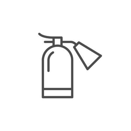 Extinguisher for fire fighter line outline icon isolated on white. Prevention of ignition. Rescue equipment with foam for emergency. Extinguish flame. Vector illustration