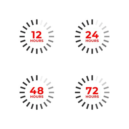 Set icons of 12, 24, 48, 72 hours isolated on white. Open, work and remaining time concept, delivery sign, special offer and sale symbol. Vector illustration