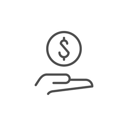 Giving money line outline icon isolated on white. Donation and charity concept, loan symbol, investment sign. Vector illustration