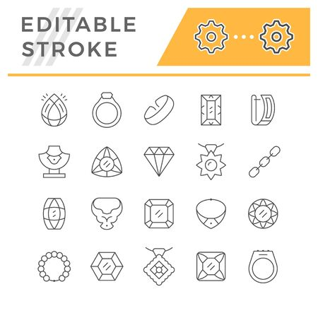 Set editable stroke line icons of jewelry Illustration