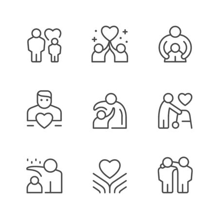 Set line icons of care and support isolated on white. Vector illustration