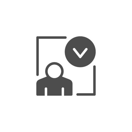 Person approval with check mark icon isolated on white. Vector illustration Archivio Fotografico - 132555539