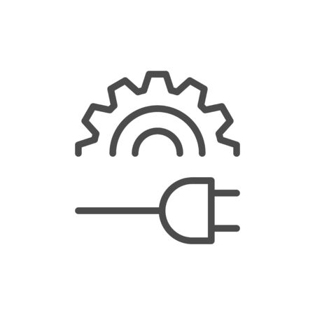 Plug setting line outline icon isolated on white. Cogwheel and electric cable. Process connection. Technical communication. Vector illustration
