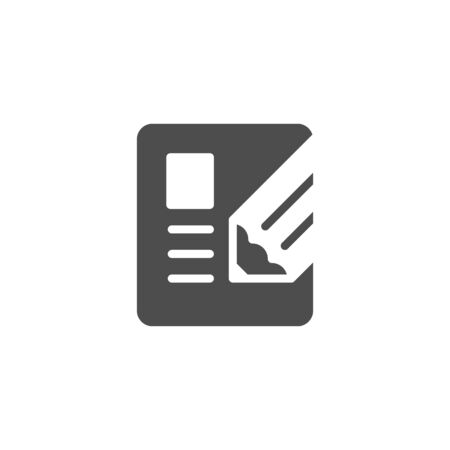 Document writing icon and contract concept isolated on white. Vector illustration