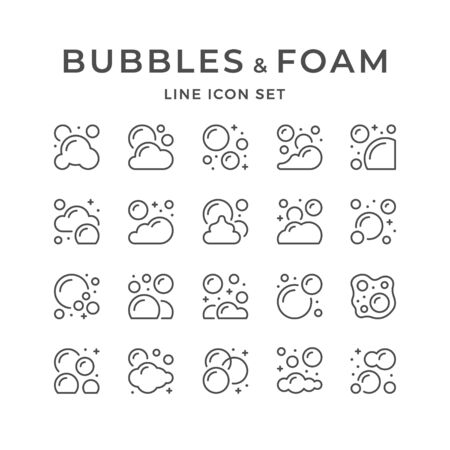 Set line icons of bubbles and foam