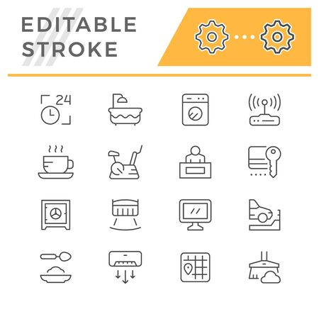 Set editable stroke line icons of hotel 向量圖像