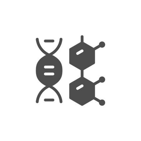 DNA molecule icon and medical concept isolated on white. Editable stroke. Vector illustration