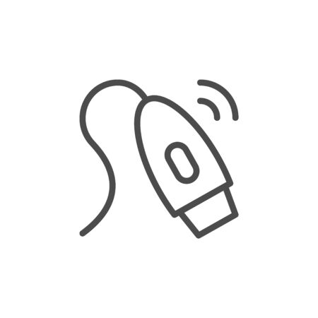 Epilator device line outline icon isolated on white. Removal hair follicle on body. Cosmetic depilation with razor. Vector illustration Illustration