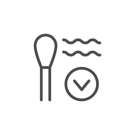 Cotton bud line outline icon isolated on white. Cosmetic hygiene stick natural material for makeup or ears hygiene. Vector illustration