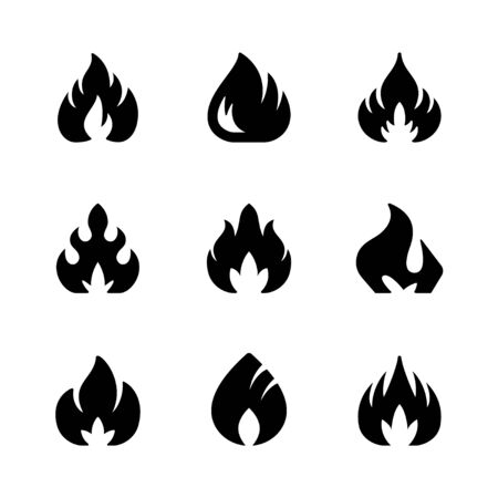 Set glyph icons of fire or flame isolated on white. Blaze symbol, hot concept, bonfire silhouette. Vector illustration Ilustrace