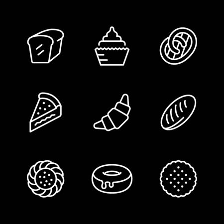 Set line icons of bakery isolated on black. Vector illustration 向量圖像