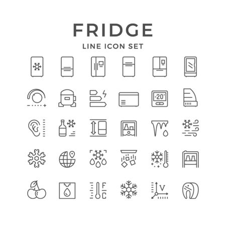 Set line icons of fridge, refrigerator, icebox isolated on white. Compressor, regulator, water cooler, defrosting, noise level, energy class, snowflake. Vector illustration Stock Illustratie