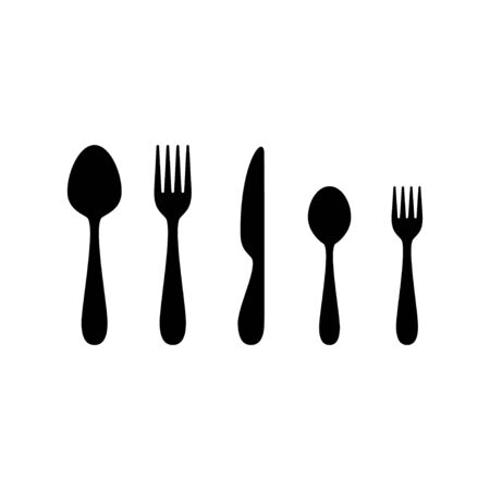 Set of cutlery with spoon, fork, knife