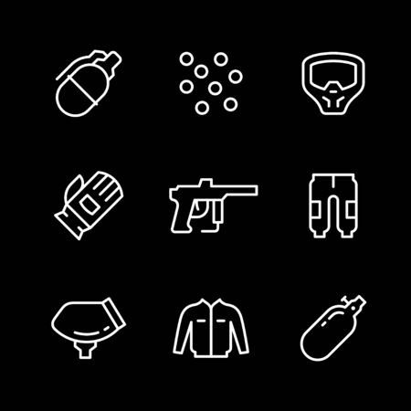 Set line icons of paintball Ilustrace