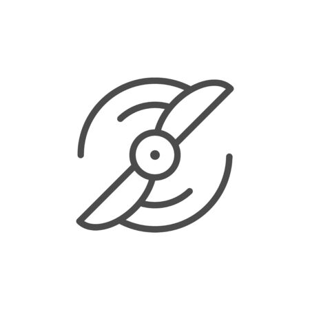 Fan line outline icon and wind equipment