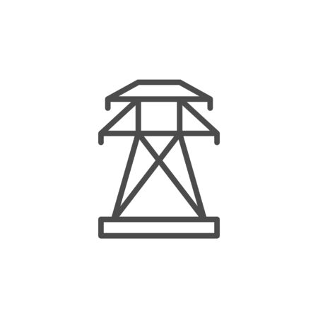 Electric pylon line outline icon isolated on white. Industrial technology. Energy tower. Vector illustration