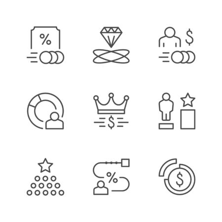 Set line icons of royalty program