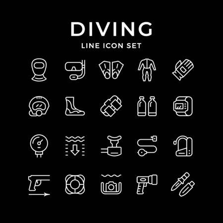 Set line icons of diving Reklamní fotografie - 134378686