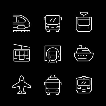 Set line icons of public transport