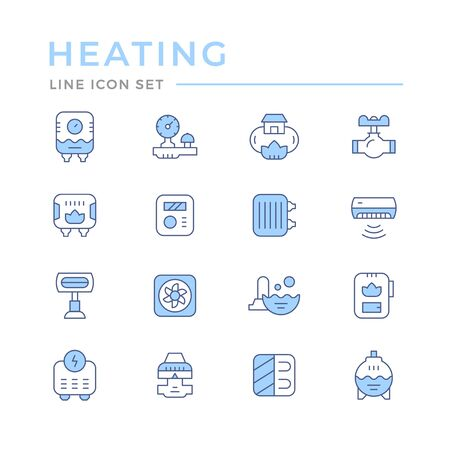Set color line icons of heating isolated on white. Vector illustration Illustration