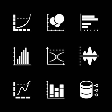 Set icons of graph and diagram Illustration