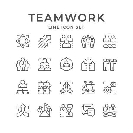 Set line icons of teamwork