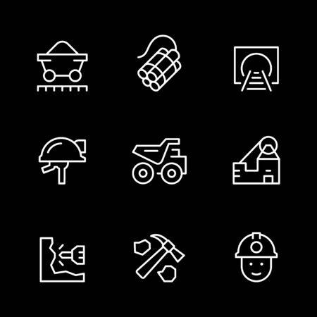 Set line icons of coal