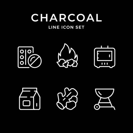 Set line icons of charcoal