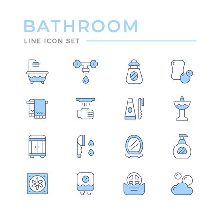 Set color line icons of bathroom isolated on white. Vector illustration Çizim