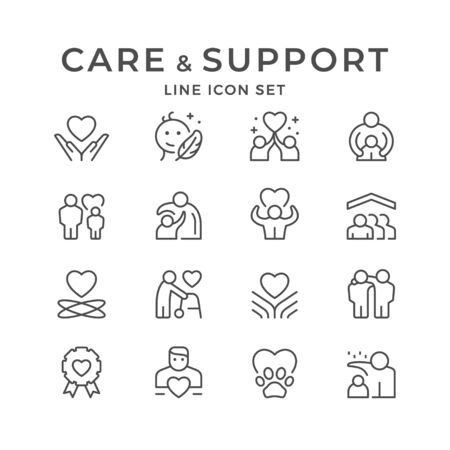 Set line icons of care and support Ilustrace