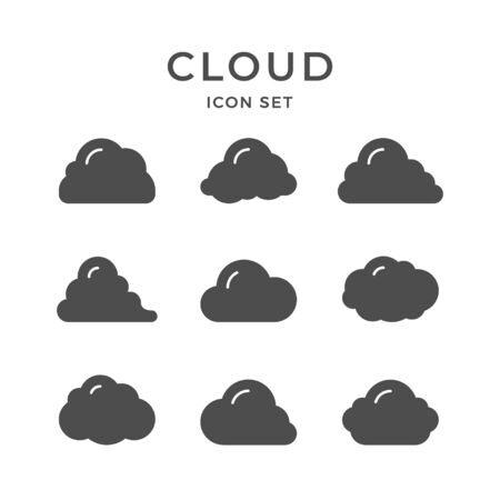 Set glyph icons of cloud