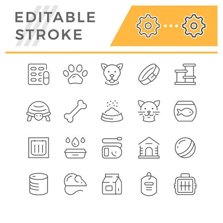 Set line icons of pet isolated on white. Editable stroke. Vector illustration