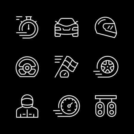 Set line icons of racing isolated on black. Vector illustration