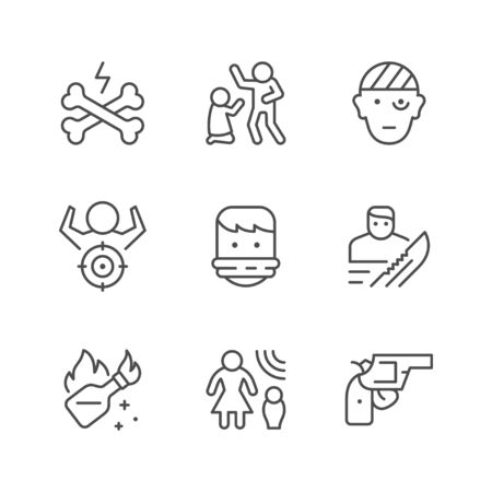Set line icons of violence isolated on white. Mass riots, Molotov cocktail, hostage, gun, robbery, domestic harassment, injured person. Vector illustration
