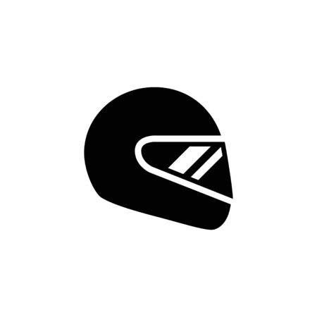 Motorcycle helmet and protective gear glyph icon isolated on white. Biker hat. Object for protection of motorcyclist head. Vector illustration