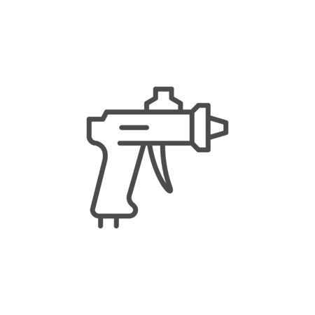 Compressor paint gun line outline icon isolated on white. Hand tool for paintwork and artwork. Vector illustration