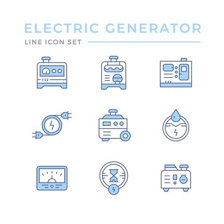 Establecer iconos de línea de color de generador eléctrico Ilustración de vector