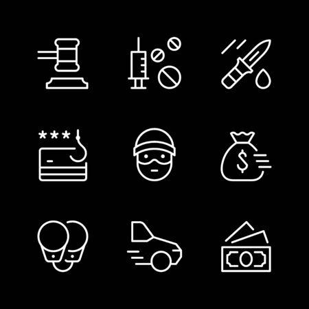 Set line icons of criminal 向量圖像