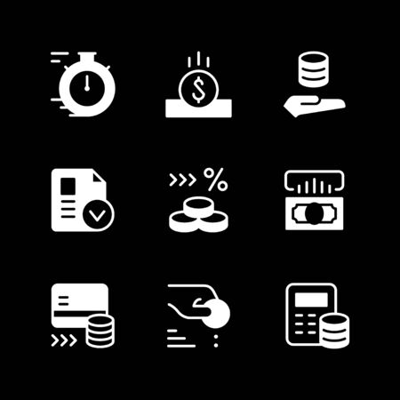 Set glyph icons of credit