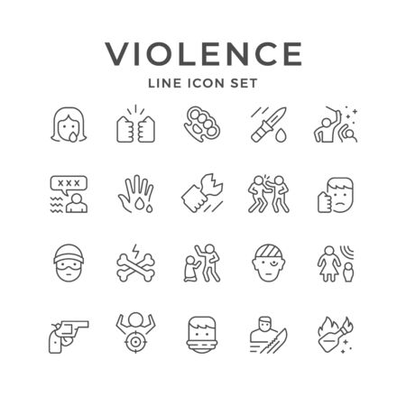 Set line icons of violence