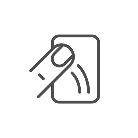 Touch device line icon isolated on white background. Smartphone, tablet or computer control. Screen and sliding finger. Vector illustration  イラスト・ベクター素材