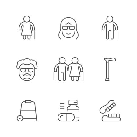 Set line icons of older people