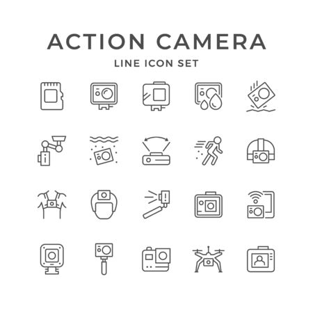 Set line icons of action camera Illusztráció