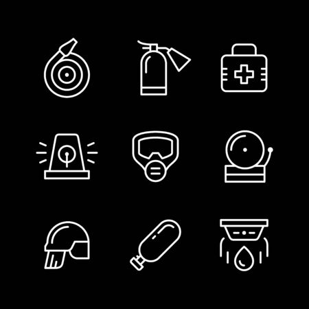 Set line icons of firefighting Ilustração