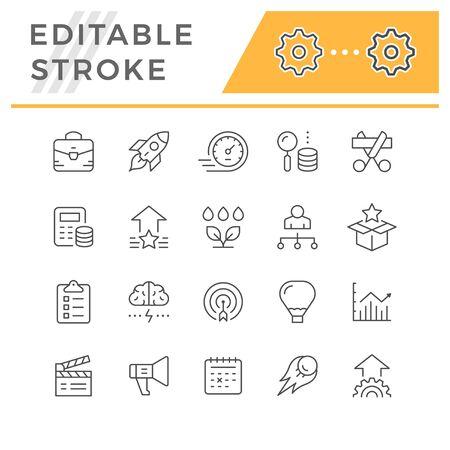 Set line icons of start up isolated on white. Editable stroke. Vector illustration