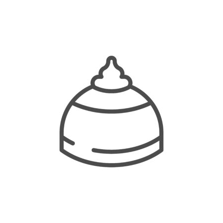 Topping cream line outline icon isolated on white. Confectionery with sweet ingredient. Chocolate dessert, cookies with syrup. Ice creme top. Vector illustration