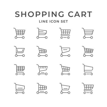 Set line icons of shopping cart 向量圖像